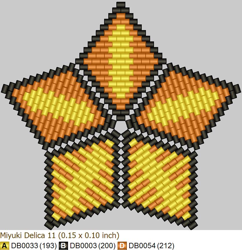 Схема геометрического бисероплетения формата '3D звезда', созданная в программе 'Бисероплетение с MyJane'
