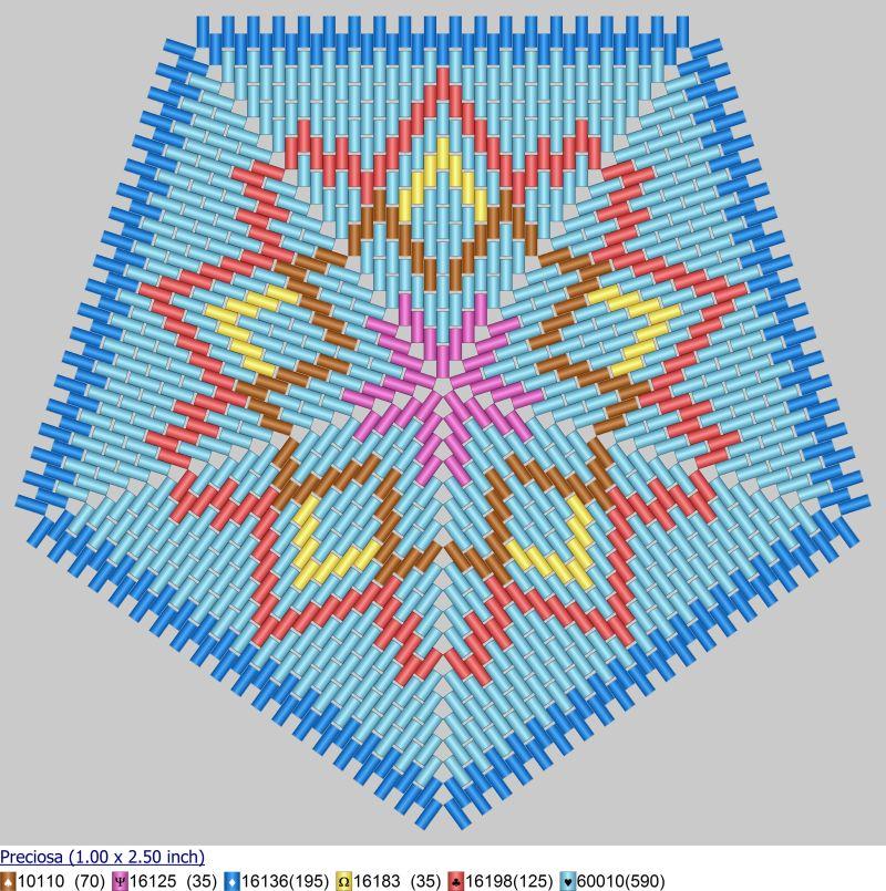 Схема бисероплетения формата '5-angles peyote', созданная в программе 'Бисероплетение с MyJane'