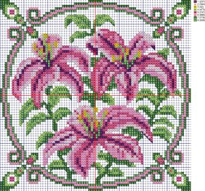 Scheme of cross-stitch pillows 'Lilys', created by the program 'Bead-n-Stitch'.