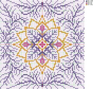 Cross stitch pattern of the pillow 'Christmas snowflake' created by the program 'Bead-n-Stitch'.