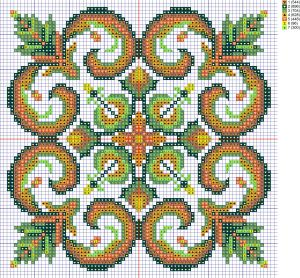 Scheme of cross-stitch pillows ornament'Ytochi', created by the program 'Bead-n-Stitch'.